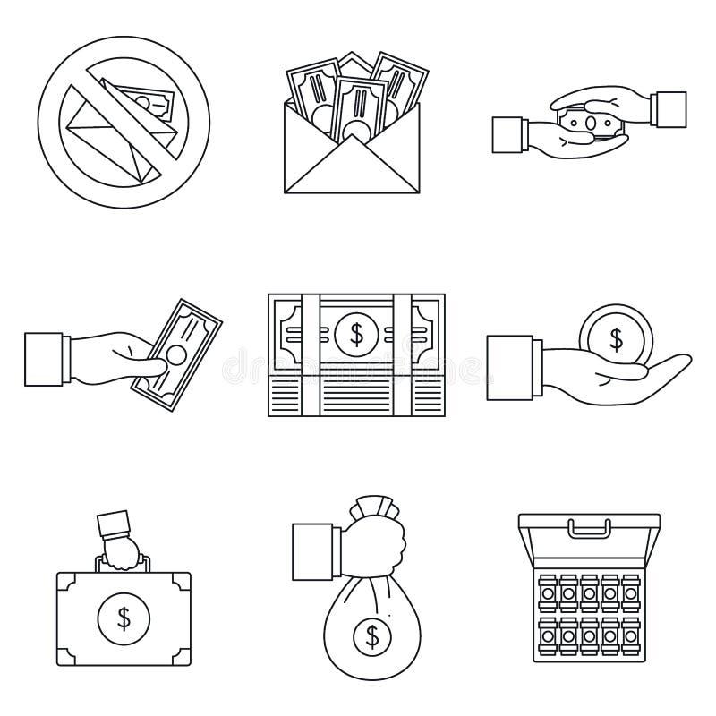 Bribery corrupt practices icon set, outline style. Bribery corrupt practices icon set. Outline set of bribery corrupt practices vector icons for web design royalty free illustration