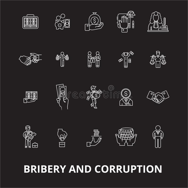 Bribery and corruption editable line icons vector set on black background. Bribery and corruption white outline. Illustrations, signs,symbols royalty free illustration