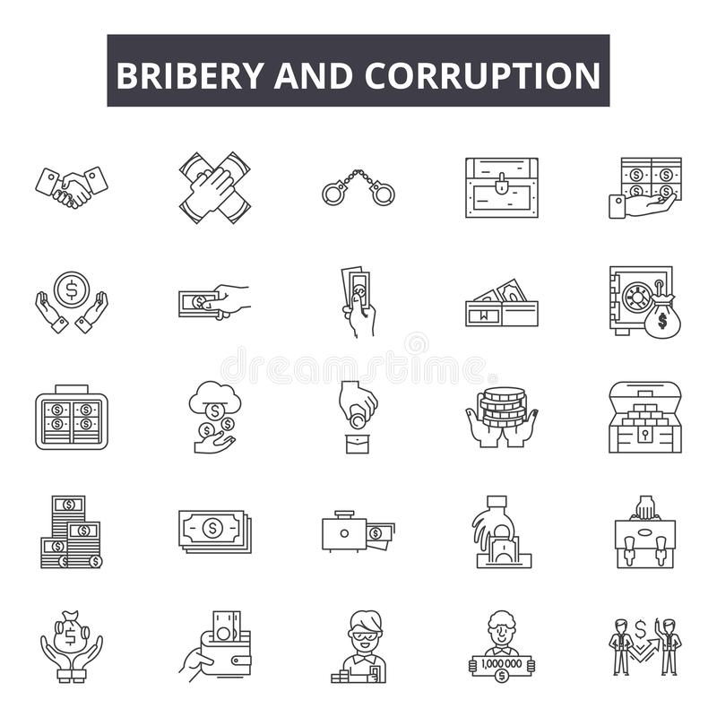 Bribery and corruption line icons, signs, vector set, linear concept, outline illustration. Bribery and corruption line icons, signs, vector set, outline concept royalty free illustration