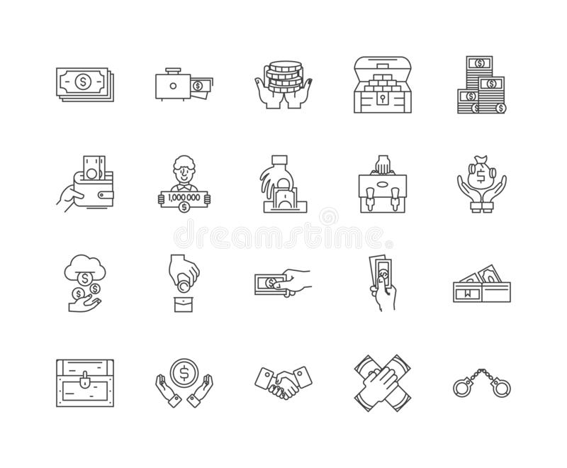 Bribery and corruption line icons, signs, vector set, outline illustration concept. Bribery and corruption line icons, linear signs, vector set, outline concept vector illustration