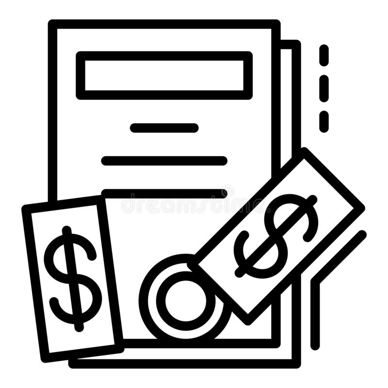 Bribery icon, outline style. Bribery icon. Outline bribery vector icon for web design isolated on white background royalty free illustration