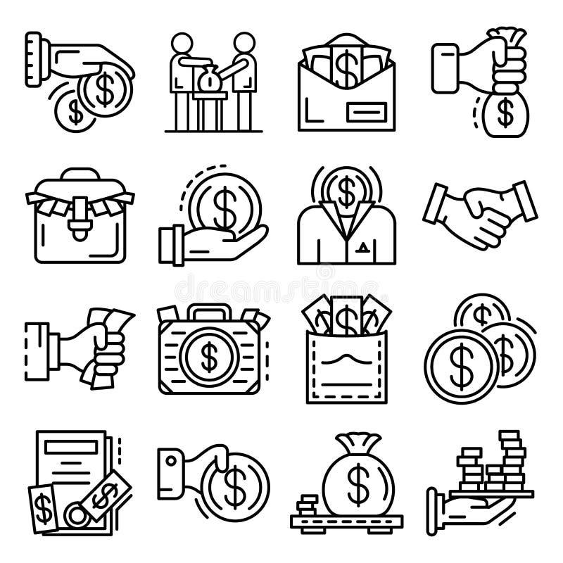 Bribery icon set, outline style. Bribery icon set. Outline set of bribery vector icons for web design isolated on white background stock illustration