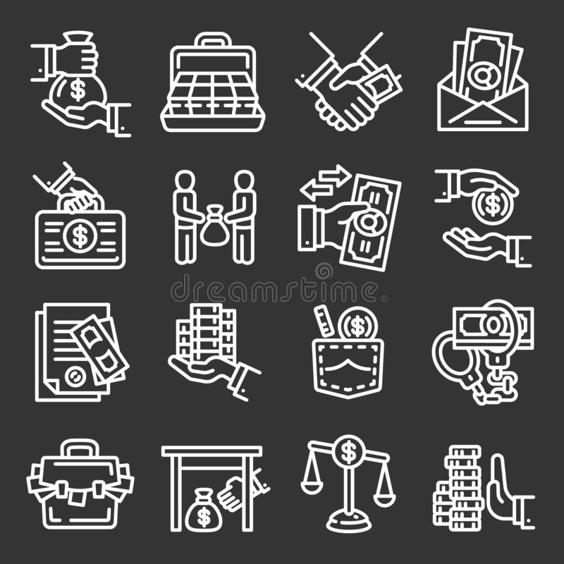 Bribery icon set, outline style. Bribery icon set. Outline set of bribery vector icons for web design isolated on gray background vector illustration