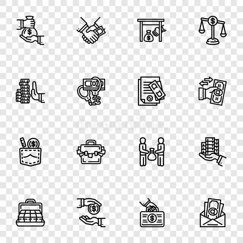 Bribery icon set, outline style. Bribery icon set. Outline set of bribery vector icons for web design royalty free illustration