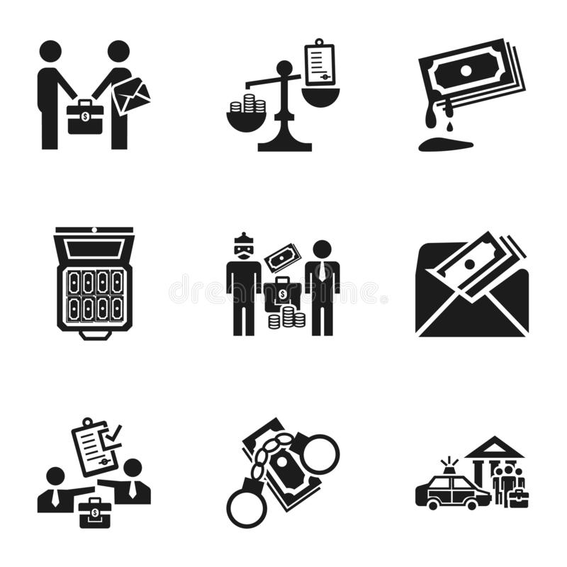 Bribery icon set, simple style. Bribery icon set. Simple set of 9 bribery vector icons for web design isolated on white background stock illustration
