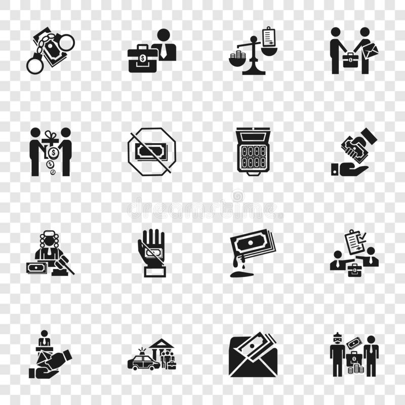 Bribery icon set, simple style. Bribery icon set. Simple set of bribery vector icons for web design vector illustration