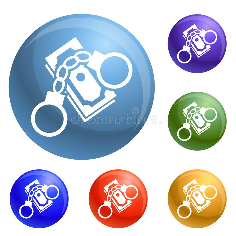 Bribery money handcuffs icons set vector. 6 color isolated on white background royalty free illustration