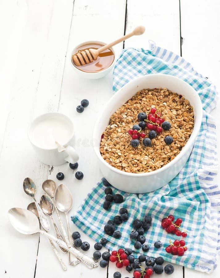 Briciola sana della bacca del granola dell'avena della prima colazione con fotografie stock libere da diritti