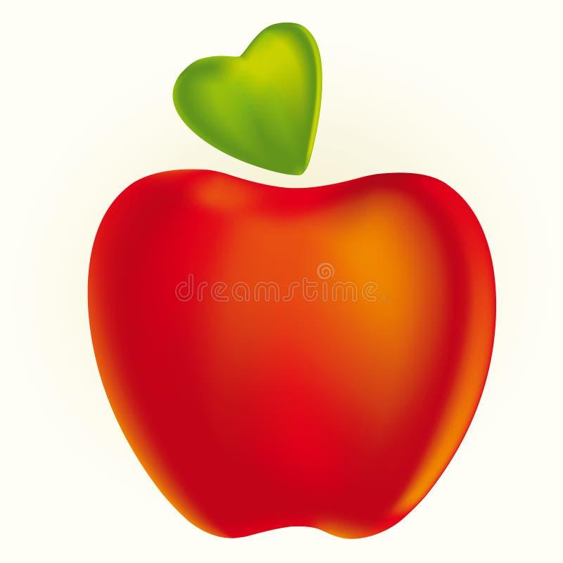 Briciolo rosso della mela una foglia del cuore Illustrazione di vettore illustrazione di stock