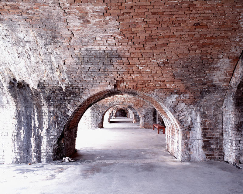 Civil War Fort Brick Archway Pensacola Florida stock photos