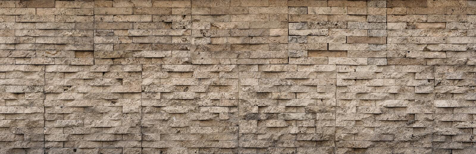 Brick banner, stone pattern with grunge texture. Decorative tile surface closeup, rock background stock photo
