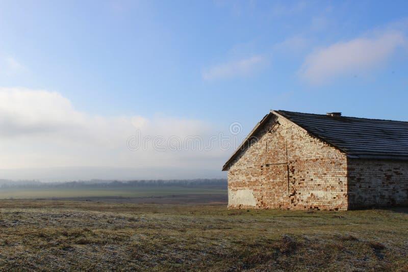 Brick barn stock photo