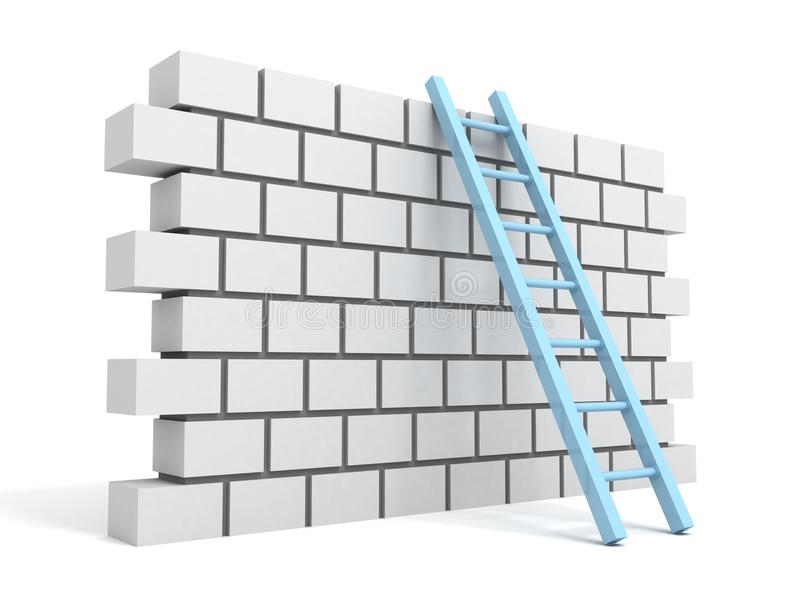 Brick block wall and ladder over a white royalty free illustration