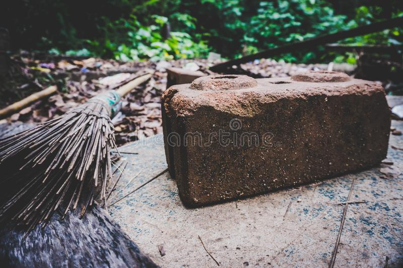 The brick broom was laid out all over. High angle view stock photo