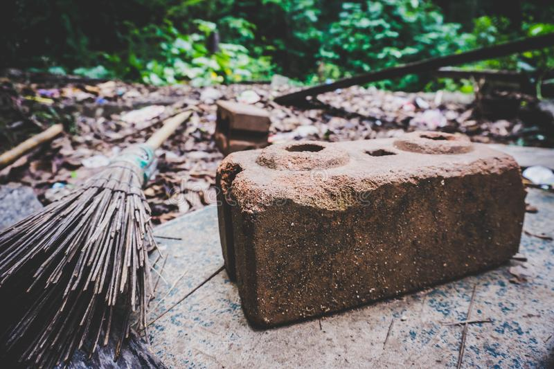 The brick broom was laid out all over. High angle view royalty free stock image