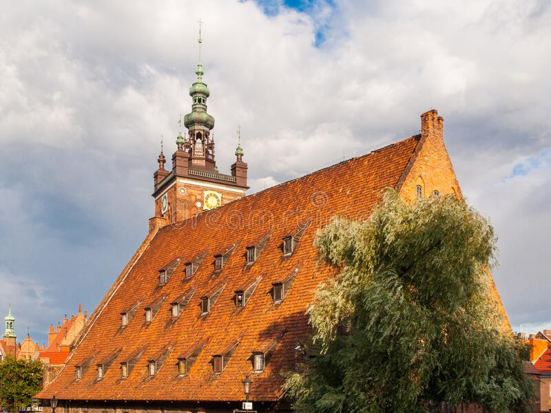 Brick building of Little Mill in Old Town of Gdansk, Poland.  stock photography
