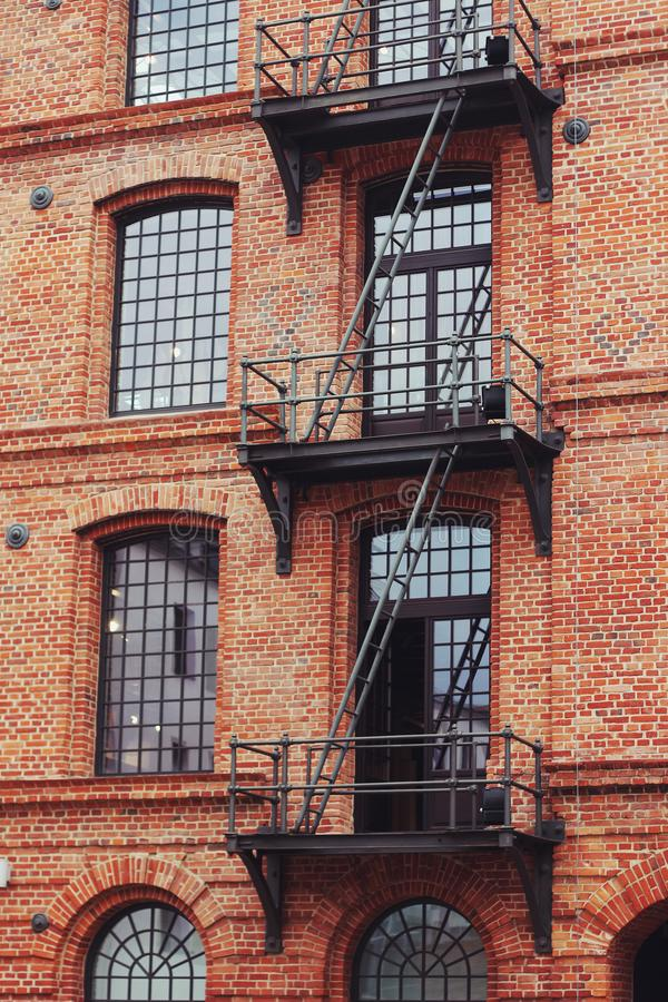 Brick building with stairs stock photo
