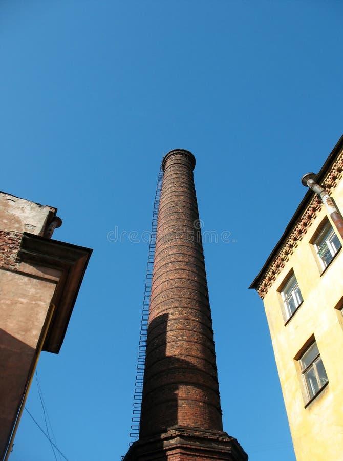 Download Brick Chimney On Blue Sky Background Stock Photo - Image: 24900732