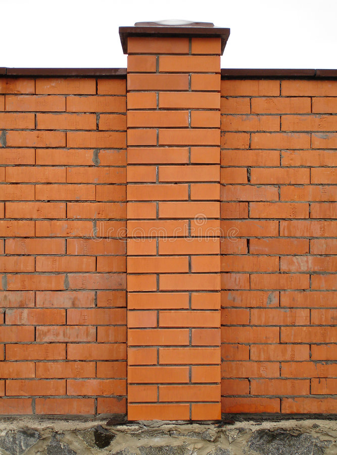Brick column. Red bricks column royalty free stock image