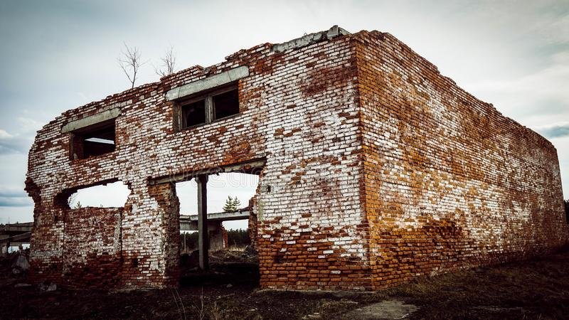 Brick destroyed building in Russia stock photo