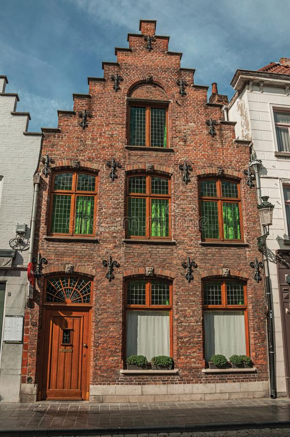 Free Brick Facade Of House In Typical Style Of The Flanders's Region In Street Of Bruges. Royalty Free Stock Image - 109792526