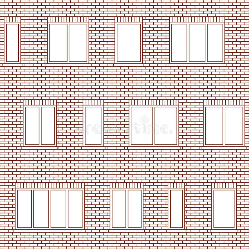 Brick facade pattern 1. Brick wall building facade with various sizes of windows seamless pattern. Architectural background with uneven distribution of glazing vector illustration
