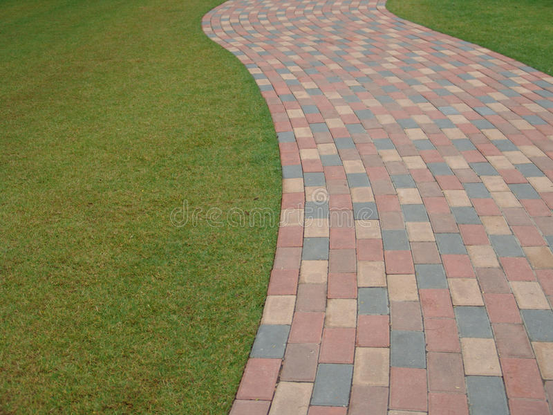 Download Brick Footpath Next To Grass Stock Image - Image of color, green: 12818155