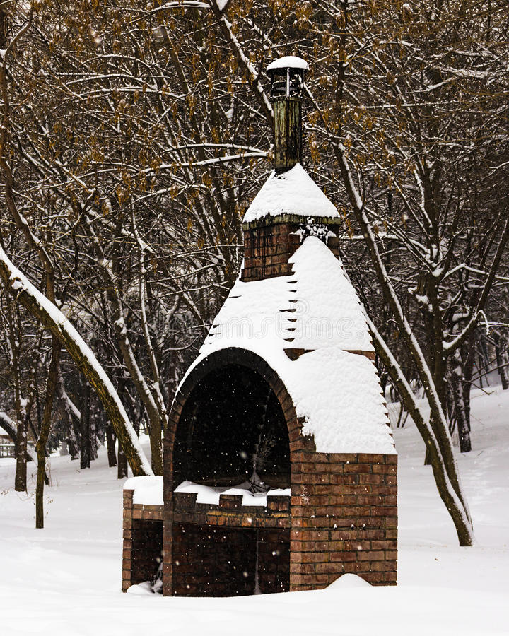 Brick grill. A brick grill in the park during snow royalty free stock photos