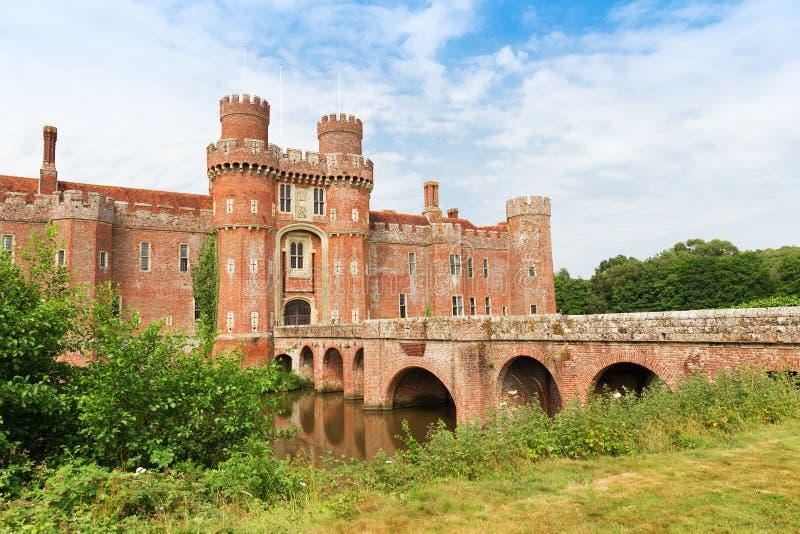 Brick Herstmonceux castle in England East Sussex 15th century. Brick Herstmonceux castle in England East Sussex of 15th century stock photo