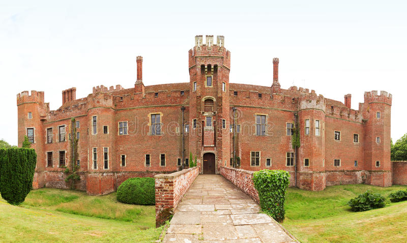 Brick Herstmonceux castle in England East Sussex 15th century. UK stock image