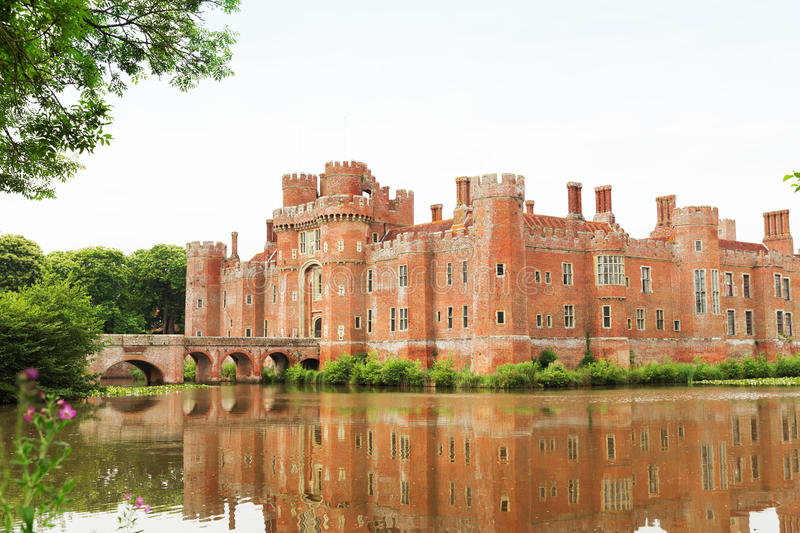 Brick Herstmonceux castle in England East Sussex 15th century. UK stock photos