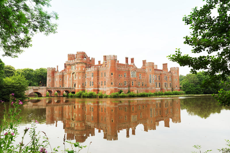 Brick Herstmonceux castle in England East Sussex 15th century. UK stock images