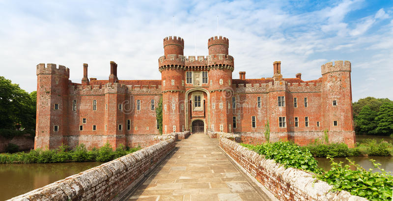 Brick Herstmonceux castle in England East Sussex 15th century. UK stock photo
