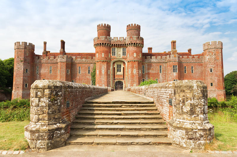 Brick Herstmonceux castle in England East Sussex 15th century. UK royalty free stock image