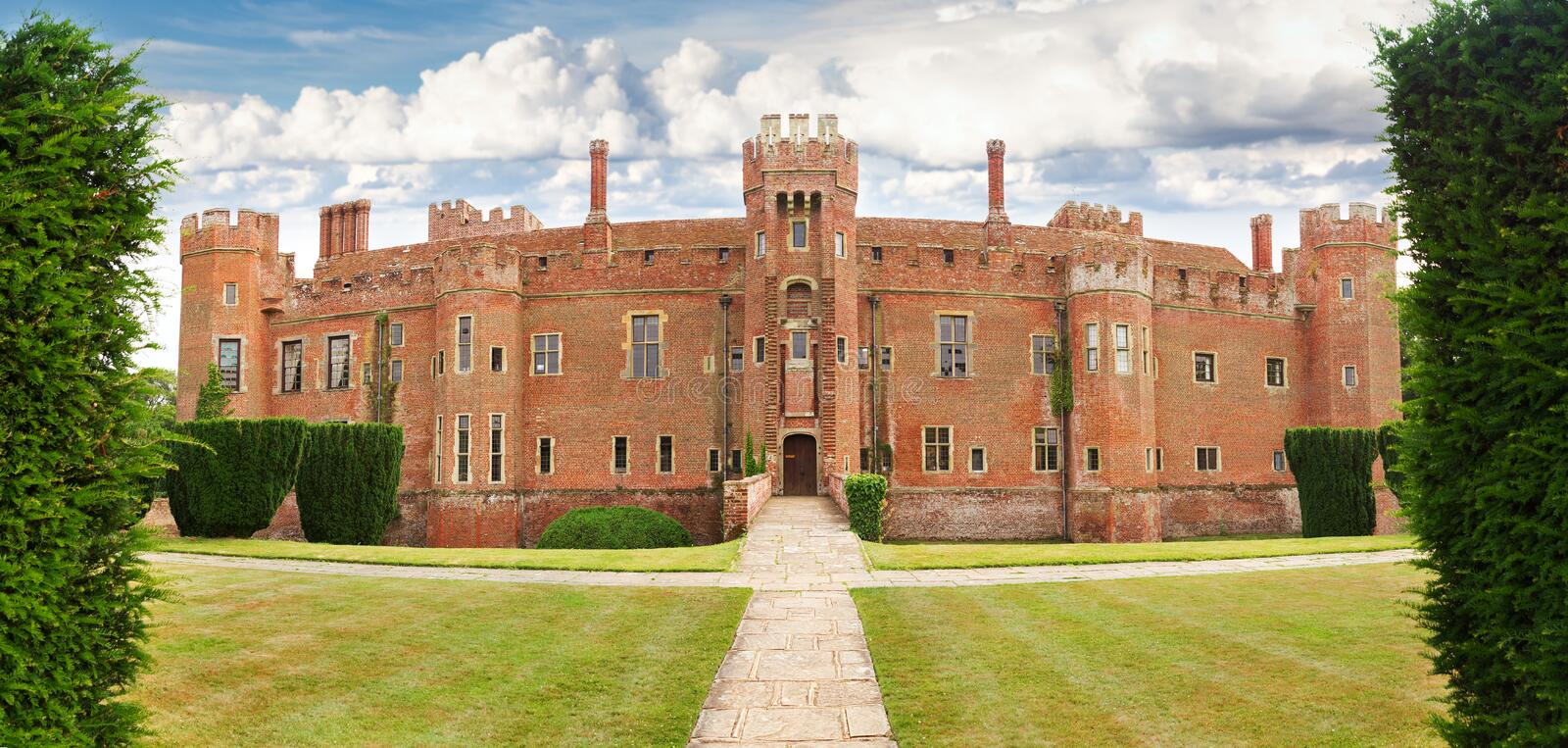 Brick Herstmonceux castle in England East Sussex. 15th century UK royalty free stock images