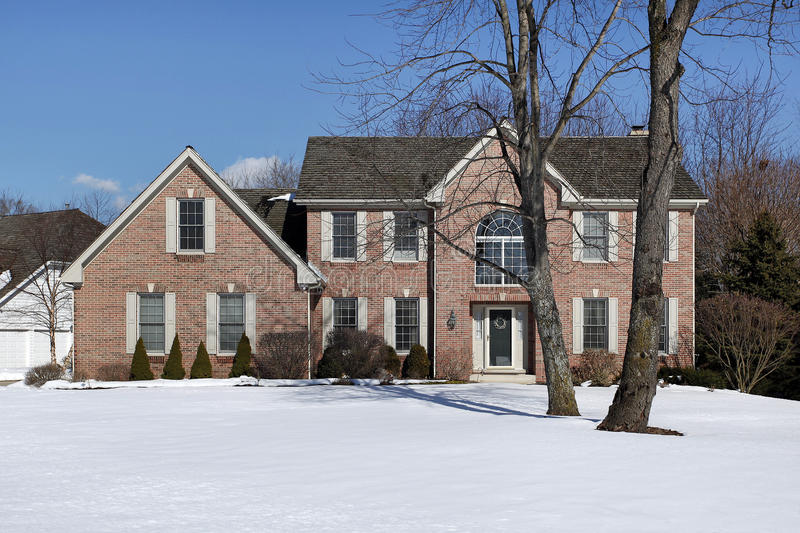 Brick home in winter royalty free stock image