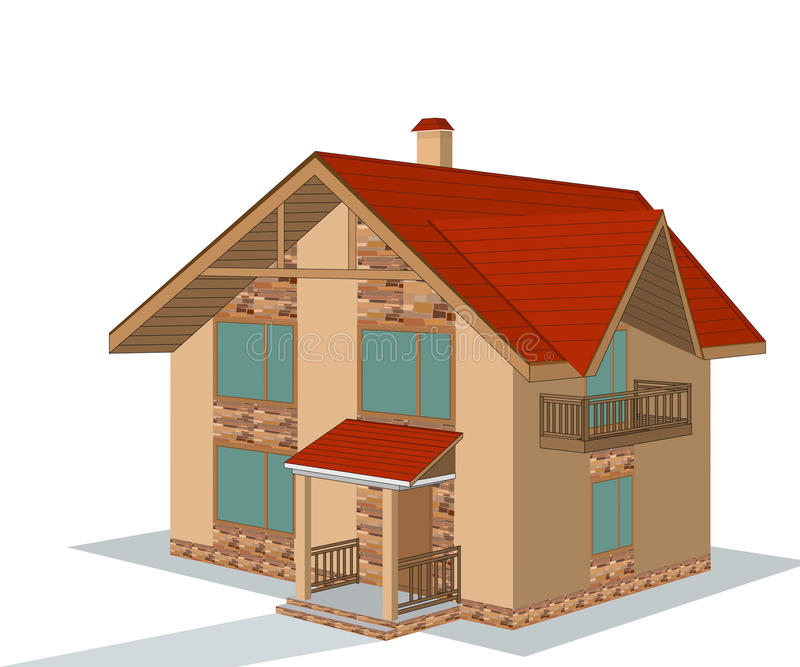 Download Brick house, illustration stock vector. Image of home - 41227950