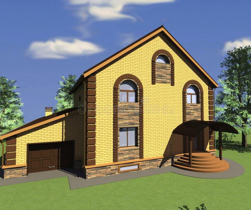 New Construction Brick Home: Brick House Stock Illustration