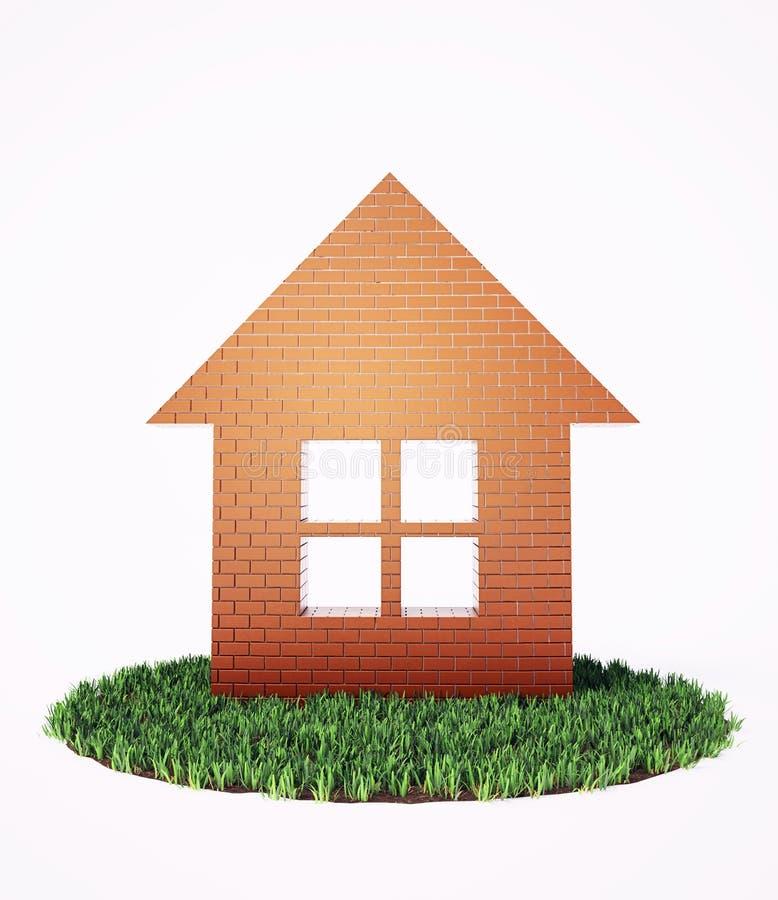 Download Brick house symbol stock image. Image of comfort, meadow - 18449459