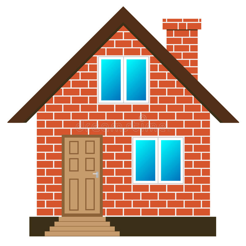 Brick house vector. Red brick house on white background, vector vector illustration