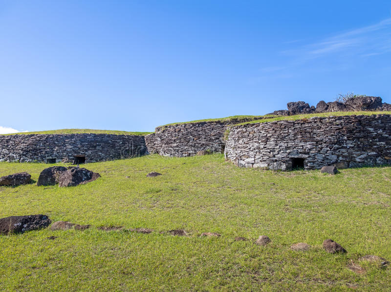 Brick houses at the ruins of Orongo Village at Rano Kau Volcano - Easter Island, Chile. Brick houses at the ruins of Orongo Village at Rano Kau Volcano in Easter royalty free stock photos