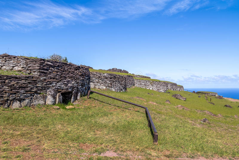 Brick houses at the ruins of Orongo Village at Rano Kau Volcano - Easter Island, Chile. Brick houses at the ruins of Orongo Village at Rano Kau Volcano in Easter stock image