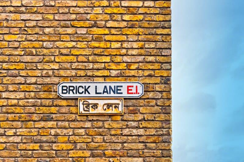 Brick Lane street sign in East End, London - UK royalty free stock photo