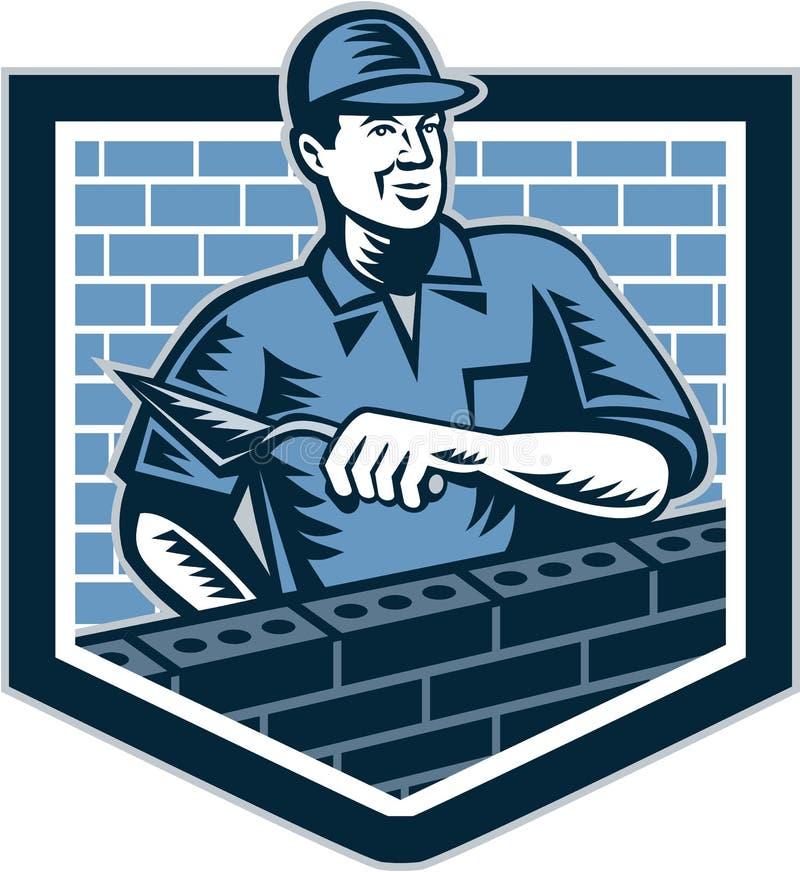 Free Brick Layer Mason Masonry Worker Retro Royalty Free Stock Photos - 38821008
