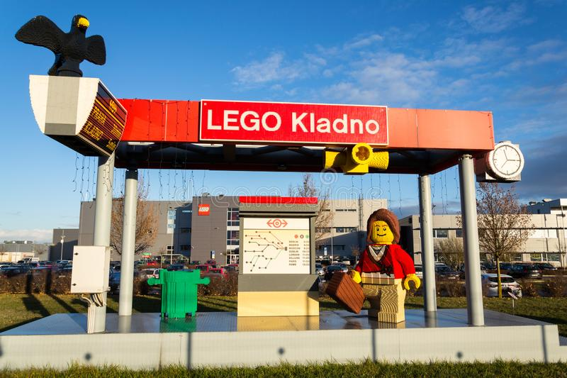 Brick models in front of the Lego Group company production factory building royalty free stock images