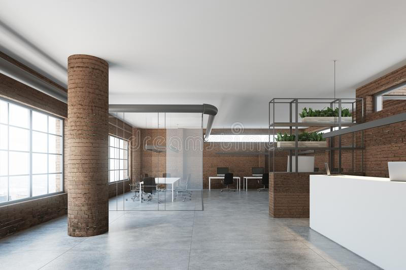 Modern Office Interior With A White Reception Counter, Brick Walls And  Columns, Large Windows And An Open Space Environment. 3d Rendering Mock Up