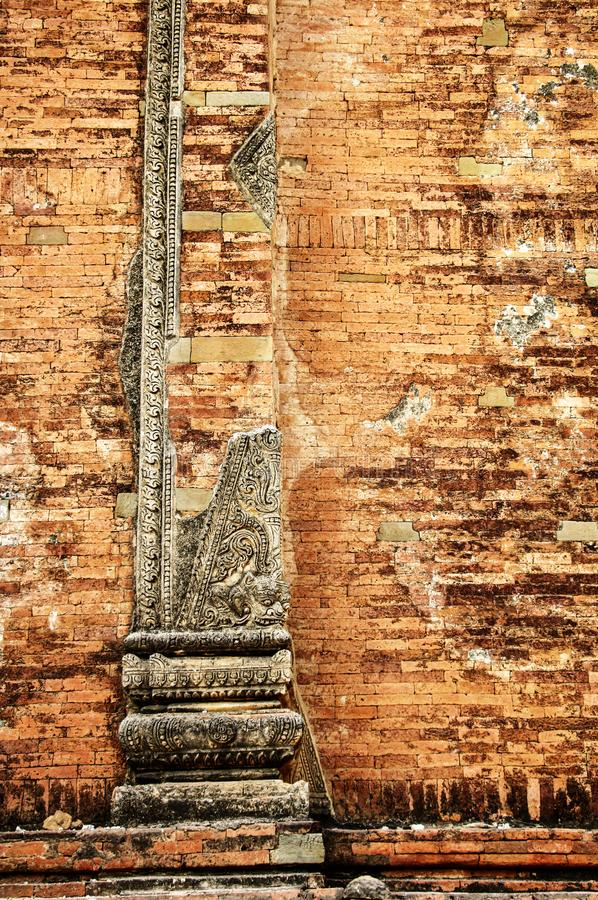 Brick wall with fretwork. Brick old wall with fretwork royalty free stock photography