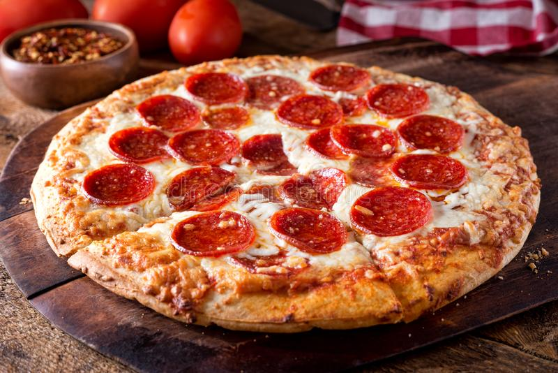 Brick Oven Baked Pepperoni Pizza stock photography