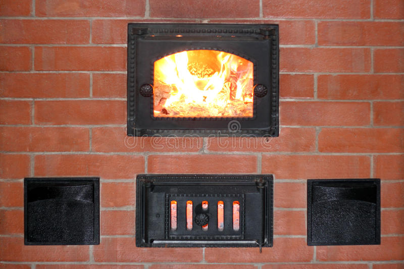 Download Brick Oven With Fire In The Furnace Door Closeup Stock Photo - Image of heater & Brick Oven With Fire In The Furnace Door Closeup Stock Photo - Image ...