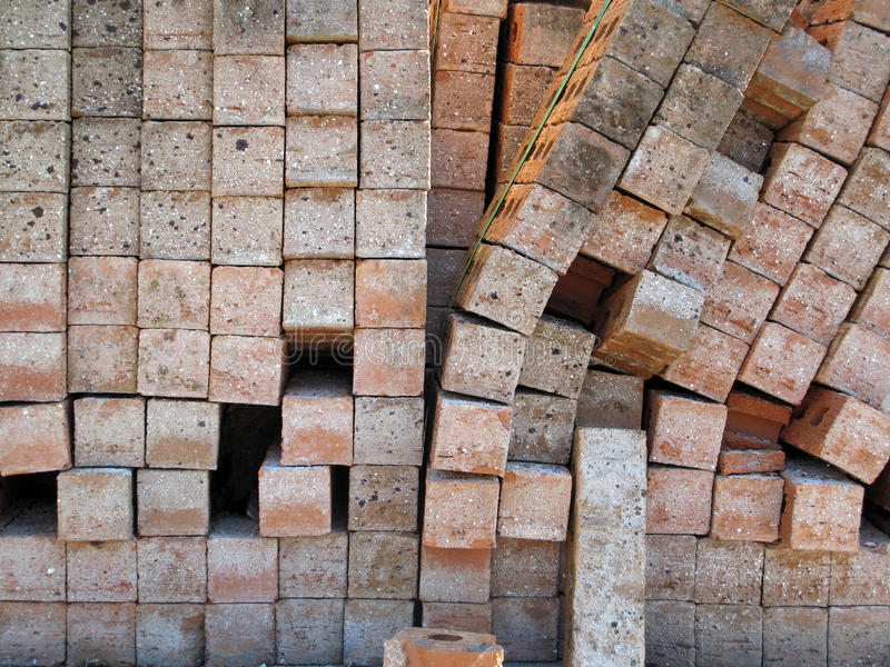 Brick Palette. A palette of toppled new bricks stock image